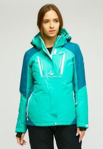 Купить оптом женскую зимнюю горнолыжную куртку зеленого цвета в интернет магазине MTFORCE 1861Z
