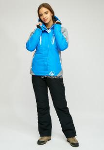 Горнолыжный костюм женский зимний синего цвета купить оптом в интернет магазине MTFORCE 01861S
