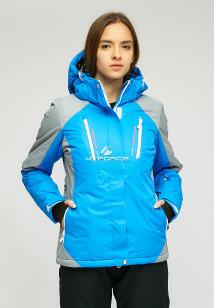 Купить оптом женскую зимнюю горнолыжную куртку синего цвета в интернет магазине MTFORCE 1861S