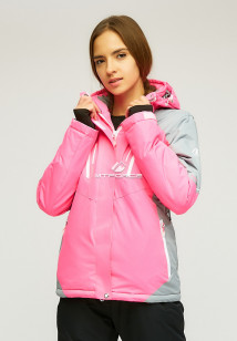 Купить оптом женскую зимнюю горнолыжную куртку розового цвета в интернет магазине MTFORCE 1861R