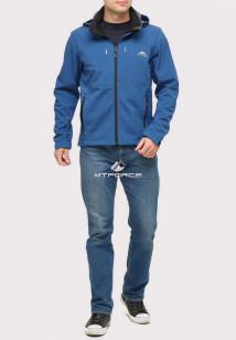 Купить оптом ветровку softshell мужскую синего цвета 1860S в интернет магазине MTFORCE.RU