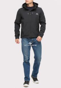 Купить оптом ветровку softshell мужскую черного цвета 1860Ch в интернет магазине MTFORCE.RU