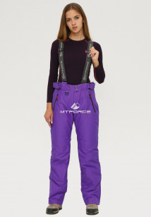 Купить оптом брюки горнолыжные женские большого размера фиолетового цвета 1878F в интернет магазине MTFORCE.RU