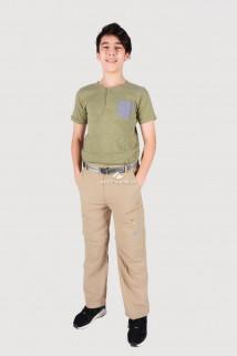 Купить оптом брюки спортивные подростковые для мальчика бежевого цвета 18095B в интернет магазине MTFORCE.RU