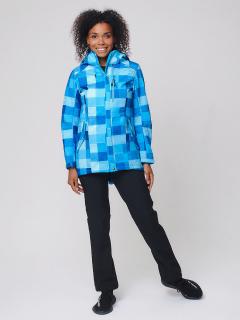 Спортивный костюм женский осенний весенний softshell синего цвета купить оптом в интернет магазине MTFORCE 01923S