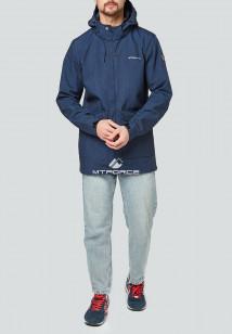 Купить оптом мужскую осеннюю весеннюю парку softshell темно-синего цвета в интернет магазине MTFORCE 1904TS