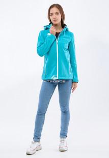 Купить оптом женскую осеннюю весеннюю ветровку softshell бирюзового цвета в интернет магазине MTFORCE 1907Br