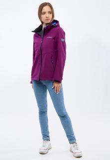 Купить оптом женскую осеннюю весеннюю ветровку softshell фиолетового цвета в интернет магазине MTFORCE 1907F