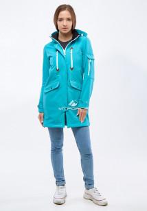 Купить оптом женскую осеннюю весеннюю парку softshell бирюзового цвета в интернет магазине MTFORCE 1911-1Br