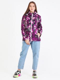 Купить оптом женскую осеннюю весеннюю ветровку softshell фиолетового цвета в интернет магазине MTFORCE 1977F