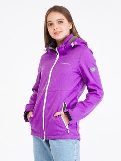 Купить оптом женскую осеннюю весеннюю ветровку softshell фиолетового цвета в интернет магазине MTFORCE 19077F