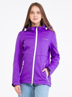 Купить оптом женскую осеннюю весеннюю ветровку softshell фиолетового цвета в интернет магазине MTFORCE 19077-1F