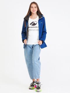 Купить оптом женскую осеннюю весеннюю ветровку softshell синего цвета в интернет магазине MTFORCE 19077S