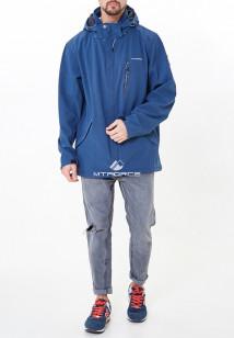 Купить оптом мужскую осеннюю весеннюю ветровку из ткани softshell большого размера синего цвета в интернет магазине MTFORCE 1921-1S
