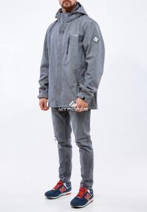 Купить оптом мужскую осеннюю весеннюю ветровку из ткани softshell большого размера серого цвета в интернет магазине MTFORCE 1921Sr
