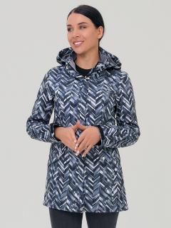 Купить оптом женскую осеннюю весеннюю парку softshell темно-серого цвета в интернет магазине MTFORCE 19221TC