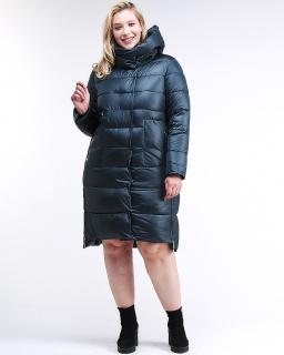 Купить оптом женскую зимнюю молодежную куртку с капюшоном темно-зеленного цвета в интернет магазине MTFORCE 191923_03TZ