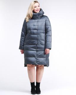Купить оптом женскую зимнюю молодежную куртку с капюшоном темно-серого цвета в интернет магазине MTFORCE 191923_11TС