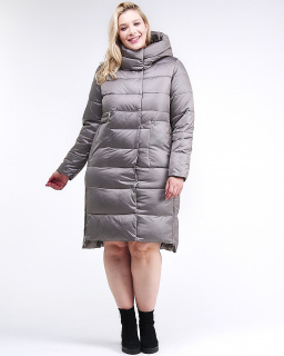 Купить оптом женскую зимнюю молодежную куртку с капюшоном серого цвета в интернет магазине MTFORCE 191923_30Sr