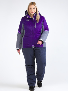 Горнолыжный костюм женский зимний большого размера темно-фиолетового цвета купить оптом в интернет магазине MTFORCE 01934TF