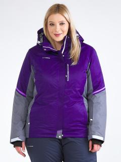 Купить оптом женскую зимнюю горнолыжную куртку большого размера темно-фиолетового цвета в интернет магазине MTFORCE 1934TF