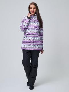 Горнолыжный костюм женский зимний фиолетового цвета купить оптом в интернет магазине MTFORCE 01937F
