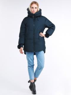 Купить оптом женскую зимнюю молодежную куртку с капюшоном темно-зеленного цвета в интернет магазине MTFORCE 1943_03TZ