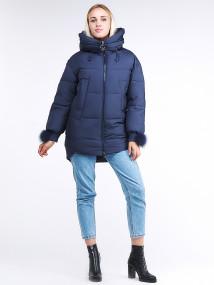 Купить оптом женскую зимнюю молодежную куртку с капюшоном темно-синего цвета в интернет магазине MTFORCE 1943_22TS
