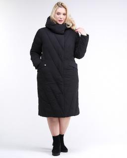 Купить оптом женскую зимнюю классику куртку с капюшоном черного цвета в интернет магазине MTFORCE 191949_01Ch