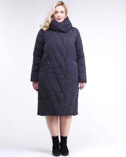 Купить оптом женскую зимнюю классику куртку с капюшоном темно-синего цвета в интернет магазине MTFORCE 191949_02TS
