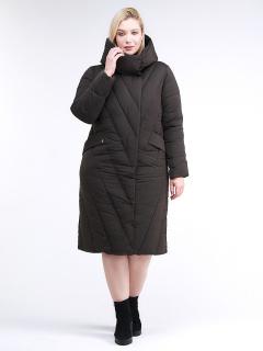 Купить оптом женскую зимнюю классику куртку с капюшоном коричневого цвета в интернет магазине MTFORCE 1949_09K
