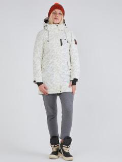 Купить оптом женскую зимнюю парку белого цвета в интернет магазине MTFORCE 1949Bl