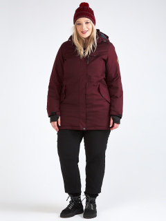 Купить оптом женскую зимнюю парку большого размера бордового цвета в интернет магазине MTFORCE 19491Bo