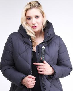 Купить оптом женскую зимнюю молодежную куртку с капюшоном темно-синего цвета в интернет магазине MTFORCE 1959_11TS