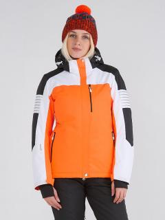 Купить оптом женскую зимнюю горнолыжную куртку оранжевого цвета в интернет магазине MTFORCE 19601O
