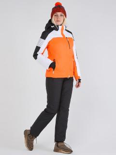 Горнолыжный костюм женский зимний оранжевого цвета купить оптом в интернет магазине MTFORCE 019601O
