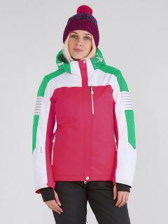 Купить оптом женскую зимнюю горнолыжную куртку розового цвета в интернет магазине MTFORCE 19601R