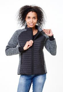 Купить оптом женскую осеннюю весеннюю молодежную куртку стеганную черного цвета в интернет магазине MTFORCE 1960Ch