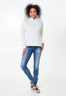 Купить оптом женскую осеннюю весеннюю молодежную куртку стеганную белого цвета в интернет магазине MTFORCE 1960Bl