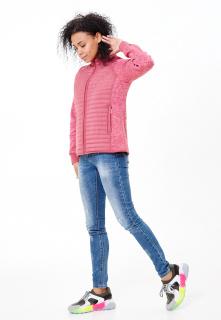 Купить оптом женскую осеннюю весеннюю молодежную куртку стеганную розового цвета в интернет магазине MTFORCE 1960R