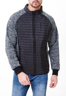 Купить оптом мужскую осеннюю весеннюю молодежную куртку стеганную черного цвета в интернет магазине MTFORCE 1961Ch