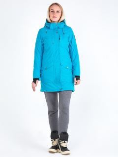 Купить оптом женскую зимнюю парку голубого цвета в интернет магазине MTFORCE 19621Gl