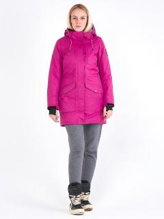 Купить оптом женскую зимнюю парку малинового цвета в интернет магазине MTFORCE 19621M