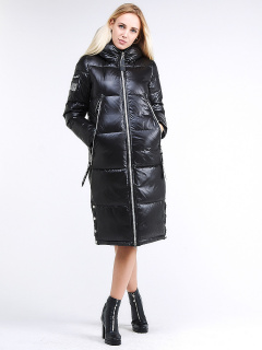 Купить оптом женскую зимнюю классику куртку с капюшоном черного цвета в интернет магазине MTFORCE 1962_01Ch