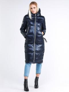 Купить оптом женскую зимнюю классику куртку с капюшоном темно-синего цвета в интернет магазине MTFORCE 1962_02TS
