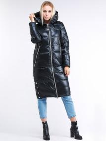 Купить оптом женскую зимнюю классику куртку с капюшоном темно-серого цвета в интернет магазине MTFORCE 1962_03TС