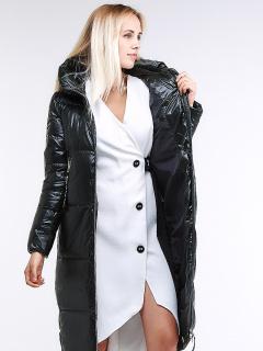 Купить оптом женскую зимнюю классику куртку с капюшоном темно-зеленного цвета в интернет магазине MTFORCE 1962_13TZ