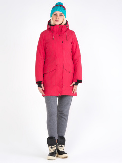 Купить оптом женскую зимнюю парку малинового цвета в интернет магазине MTFORCE 19622M