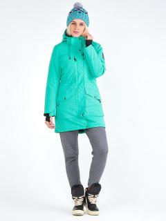 Купить оптом женскую зимнюю парку зеленого цвета в интернет магазине MTFORCE 19622Z