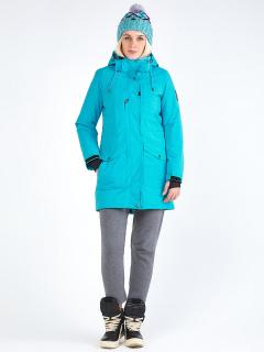 Купить оптом женскую зимнюю парку голубого цвета в интернет магазине MTFORCE 19622Gl